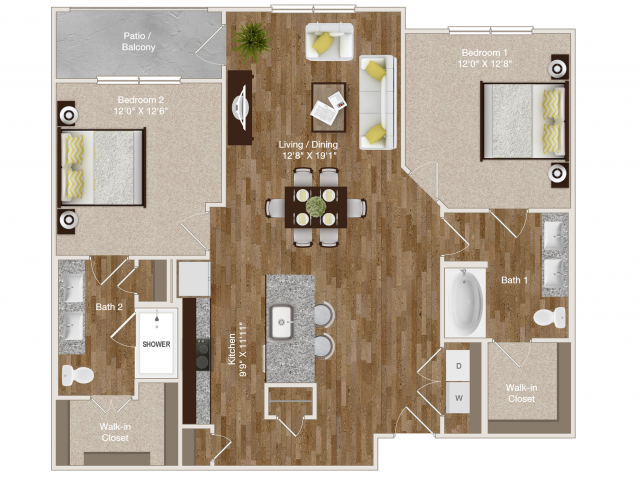 1,154 sq. ft. B2 floor plan