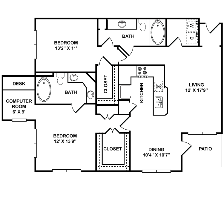 1,232 sq. ft. Uffizi floor plan