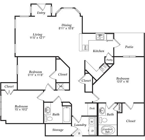 1,458 sq. ft. B3-U floor plan