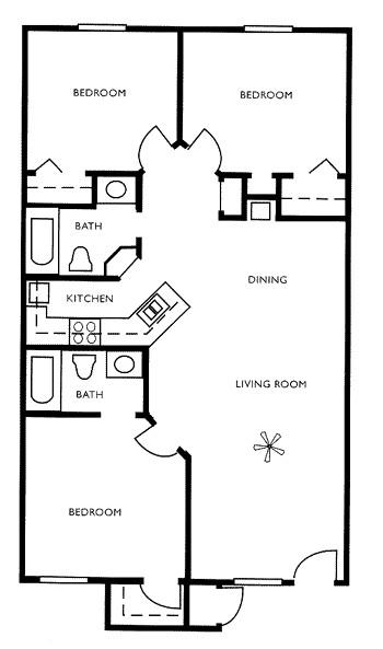 990 sq. ft. floor plan