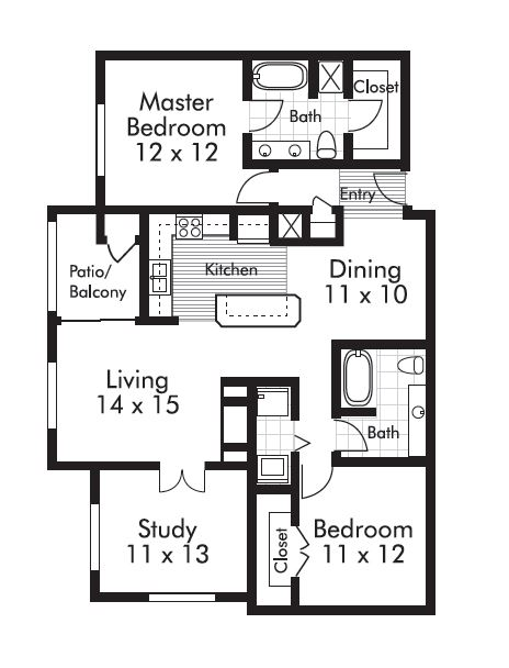 1,290 sq. ft. Willamette floor plan