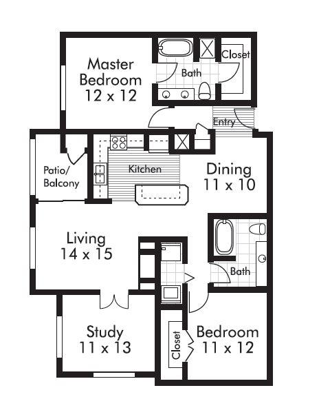 1,290 sq. ft. Williamette floor plan