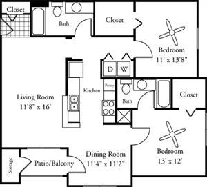 1,107 sq. ft. Vento floor plan