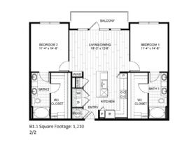 1,210 sq. ft. B1.1 floor plan