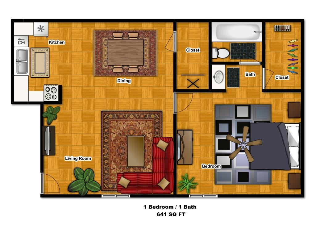 641 sq. ft. floor plan