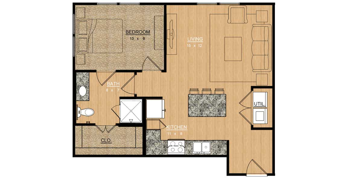 695 sq. ft. Lantana floor plan