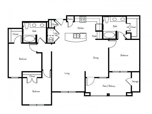 1,446 sq. ft. C1 floor plan