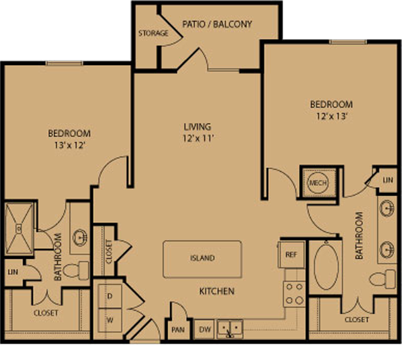 1,105 sq. ft. Bandera floor plan
