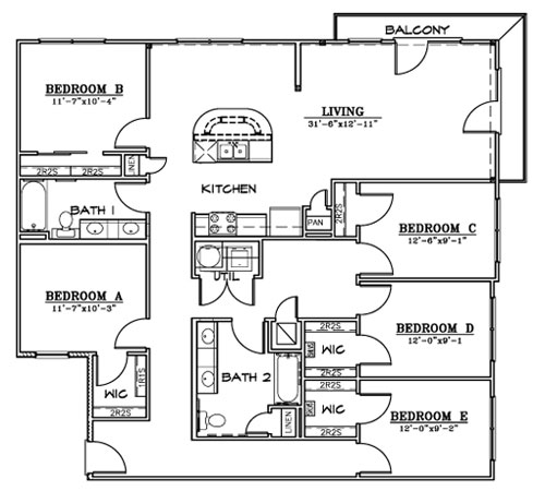 1,758 sq. ft. F1HC floor plan