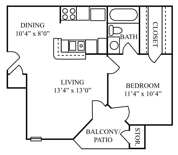 521 sq. ft. A floor plan