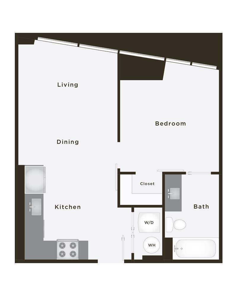 584 sq. ft. Hero floor plan
