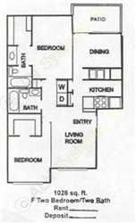 1,026 sq. ft. B2 floor plan