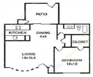 680 sq. ft. TRENTON floor plan