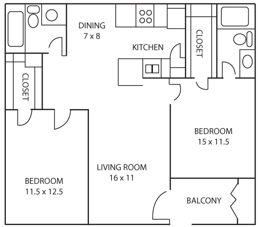 905 sq. ft. Sunflower floor plan