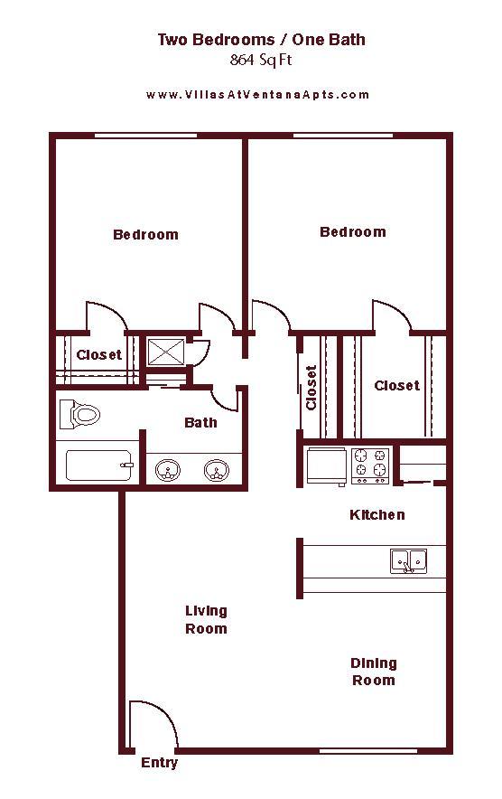 964 sq. ft. to 1,008 sq. ft. floor plan
