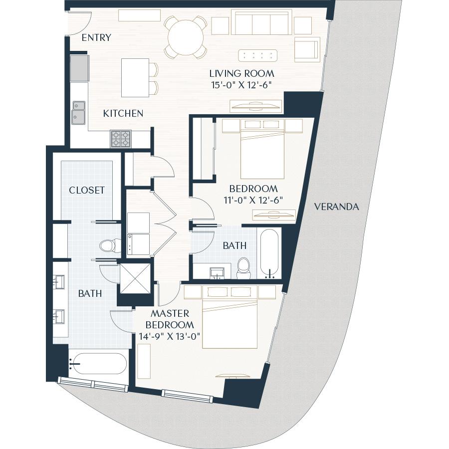 1,320 sq. ft. B1 floor plan