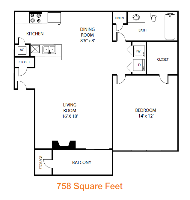 758 sq. ft. Poplar floor plan