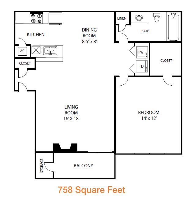 758 sq. ft. Poplar floor plan