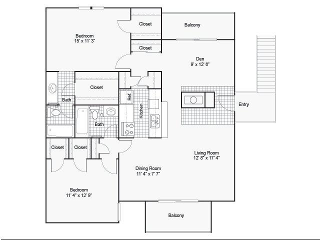1,200 sq. ft. II F-3 floor plan