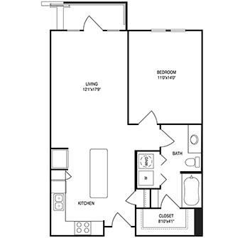755 sq. ft. floor plan