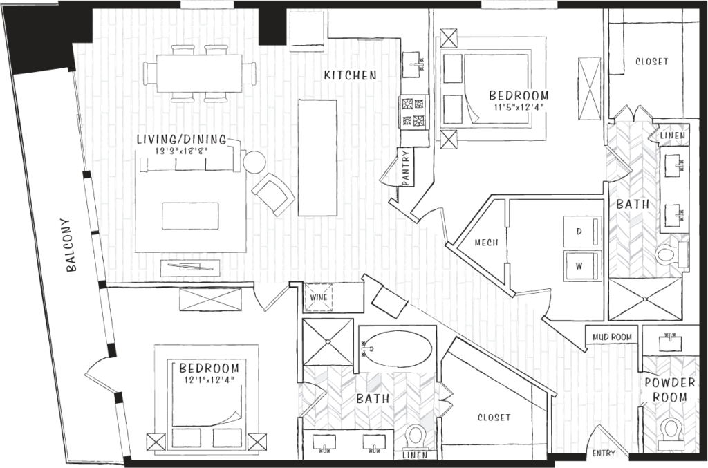1,400 sq. ft. B5 floor plan