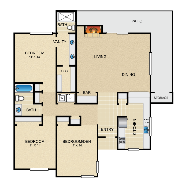 1,365 sq. ft. B floor plan