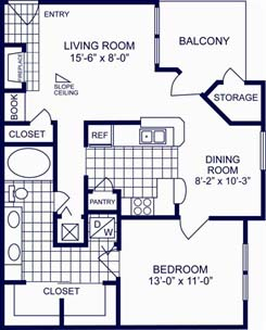 799 sq. ft. B floor plan