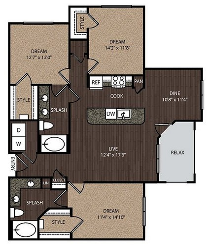 1,397 sq. ft. D1 floor plan