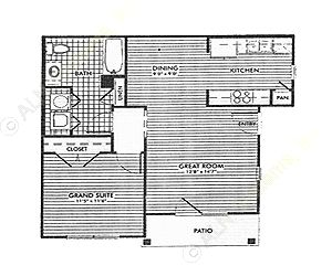 696 sq. ft. Dogwood/50% floor plan