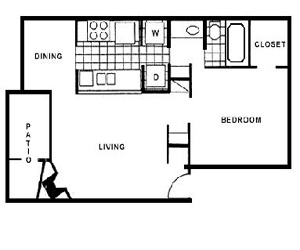 698 sq. ft. C floor plan