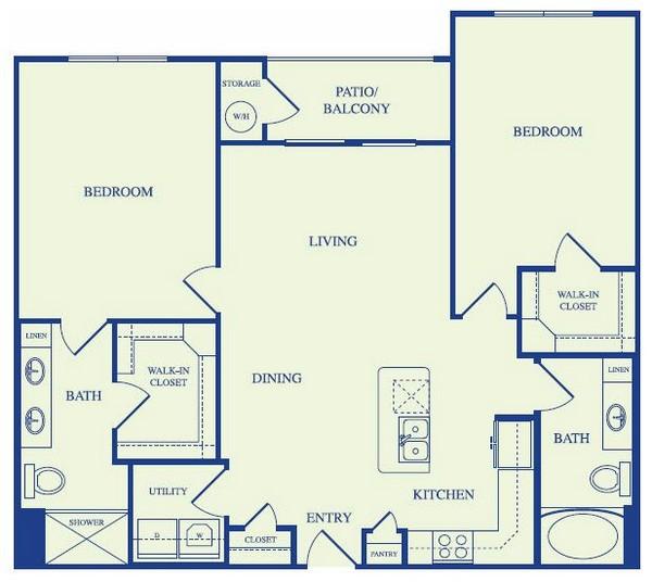 1,216 sq. ft. C1 floor plan