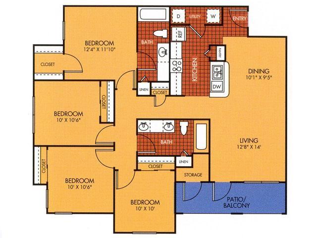 1,300 sq. ft. 50% floor plan