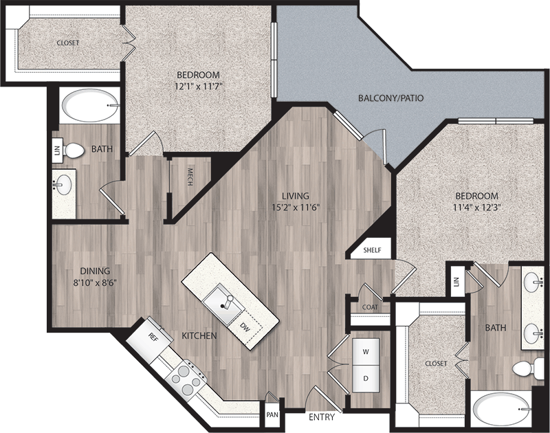 1,159 sq. ft. B1 floor plan