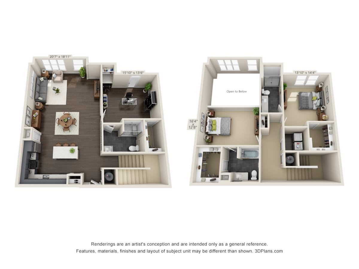 2,141 sq. ft. Loft BC floor plan