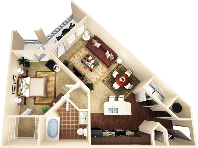759 sq. ft. A2 floor plan