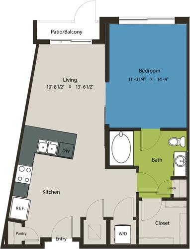742 sq. ft. A9 floor plan