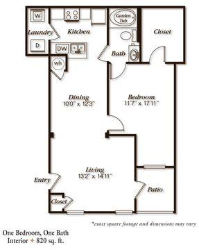 820 sq. ft. A3L floor plan
