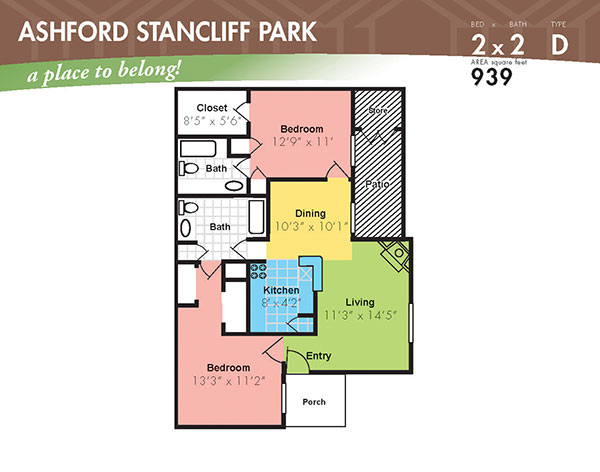 939 sq. ft. I floor plan