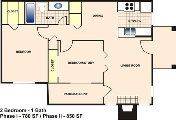850 sq. ft. D floor plan