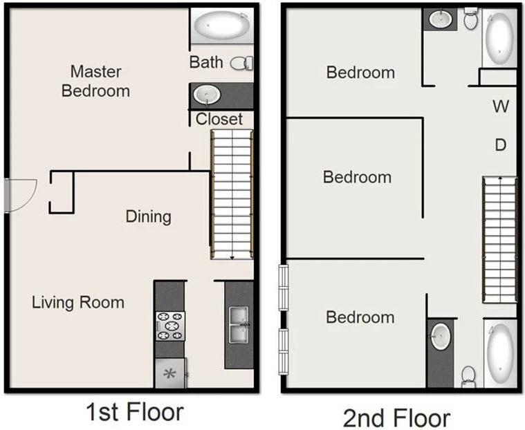 1,500 sq. ft. J floor plan