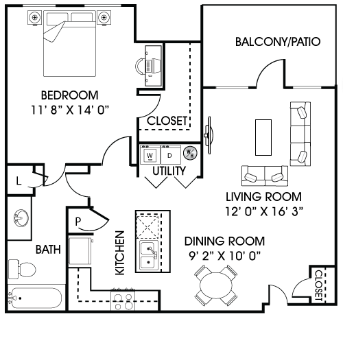 771 sq. ft. A1-A floor plan
