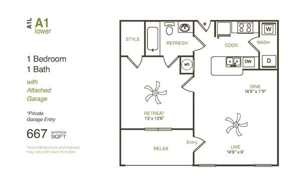 667 sq. ft. A1LG floor plan