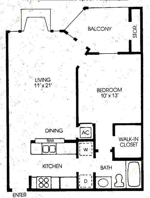 640 sq. ft. Mimosa - Renovated floor plan