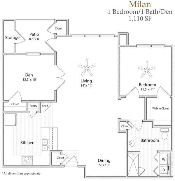 1,110 sq. ft. Milan floor plan