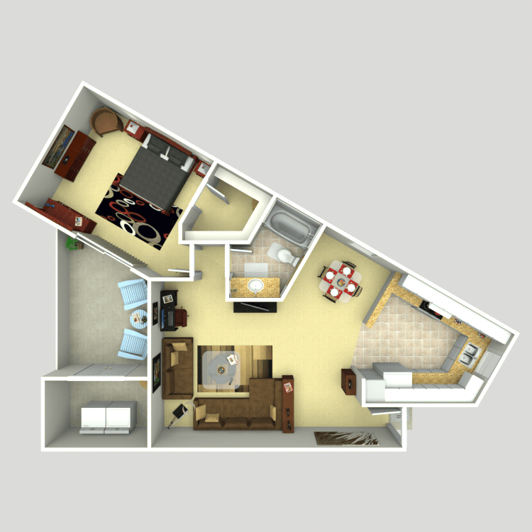 748 sq. ft. 1D floor plan