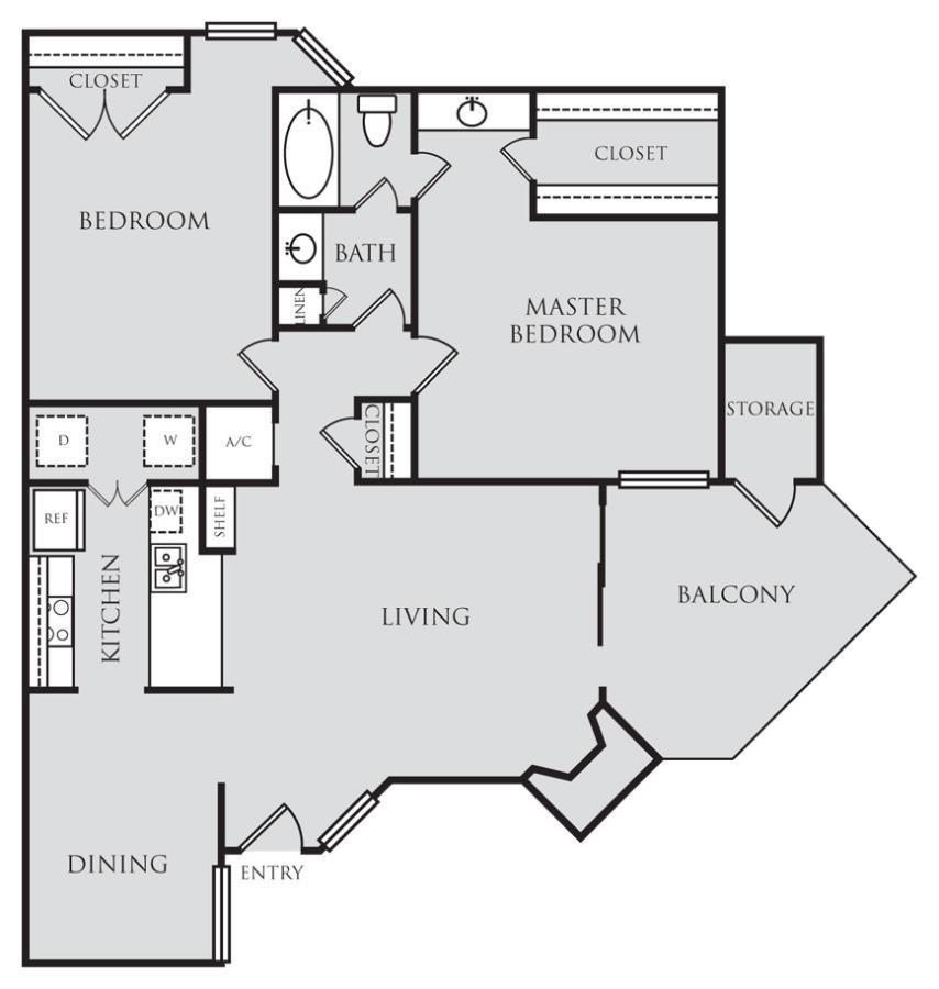 1,007 sq. ft. B1 floor plan