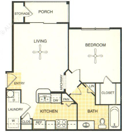 548 sq. ft. Fredricksburg floor plan