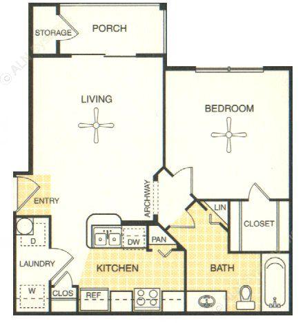 548 sq. ft. Fredricksburg floor plan