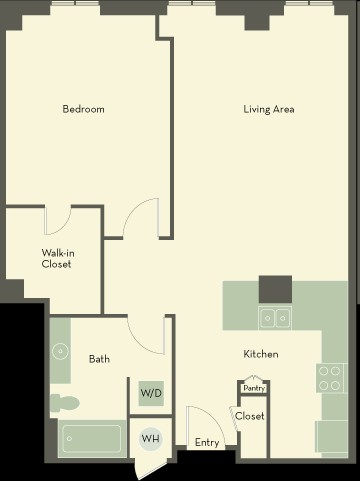 872 sq. ft. AM floor plan