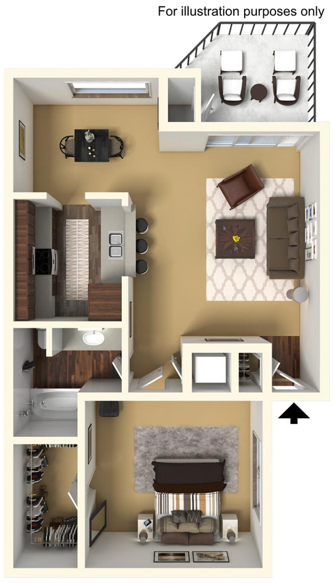 703 sq. ft. 60% floor plan